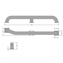 3 Metre Wheel Guide 3000L x 600W x 365H  Technical Drawing