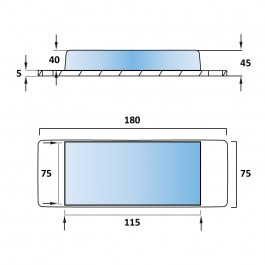 Aluminium Tipper Pad 180L x 75W x 45H Technical Drawing