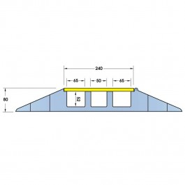 Cable Protector 970L x 590W x 80H (3 Channels, 55/70mm x 50mm, 6.1 Tonnes) Technical Drawing