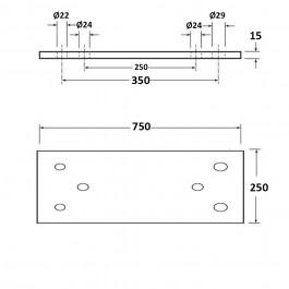 Dock Bumper Simple Back Plate 750L x 250W x 15H at Polymax