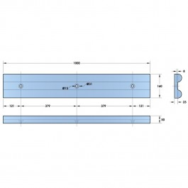 Double D Wall Guard 1000L x 150W x 55H Technical Drawing