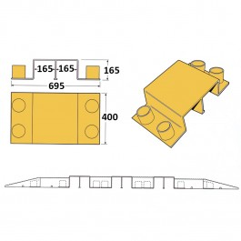 Heavy Duty Cable Cover Bridge Yellow 360L x 400W x 175H  at Polymax