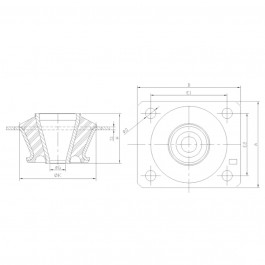 Polymax KMC Anti-Vibration Cab Mount Technical Drawing