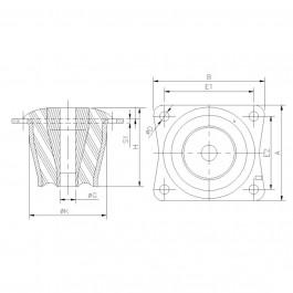 Polymax KMC MET Anti-Vibration Cab Mount Technical Drawing