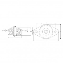 Polymax KMVB Anti-Vibration Cab Mount Technical Drawing