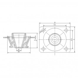 Polymax KMVC Anti-Vibration Cab Mount Technical Drawing