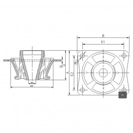 Polymax KMVC MET Anti-Vibration Cab Mount Technical Drawing