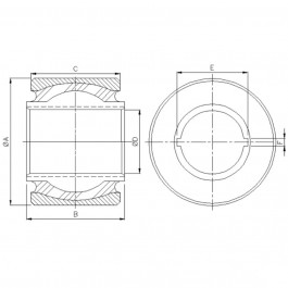 Polymax KSV 110 Anti-Vibration Ball Joint Technical Drawing