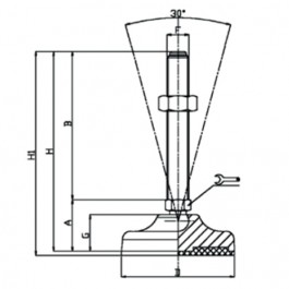 Plastic Adjustable Levelling Feet Technical Drawing