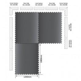 POWER Interlocking Mat Short Edge 666mm x 120mm x 17mm Technical Drawing