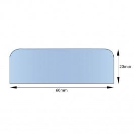 Self Adhesive Flat Foam Edge 1000L x 60W x 20H Technical Drawing
