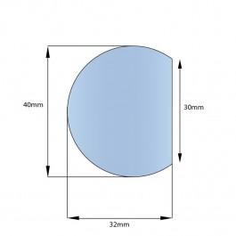 Self Adhesive Round Foam Edge 1000L x 40W x 32H Technical Drawing