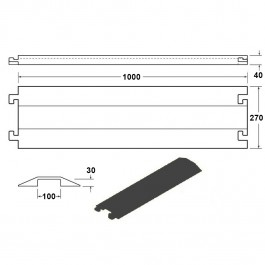 Shallow Cable Cover Black LPDE 1000L x 275W x 40H (1 Channel, 100mm x 30mm) Technical Drawing