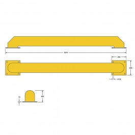 Shallow Wheel Guide 2070L x 250W x 200H  Technical Drawing
