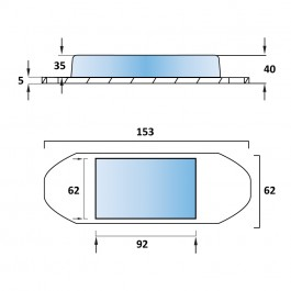 Steel Oval Tipper Pad Coated 153L x 62W x 40H Technical Drawing