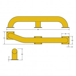 Tapered Wheel Guide 2070L x 405W x 365H  Technical Drawing