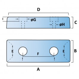 Trapezium Dock Bumpers 2 Fixings Technical Drawing