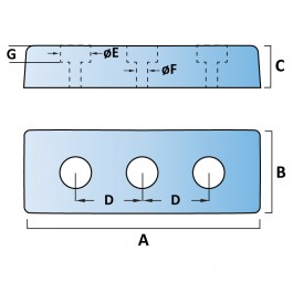 Trapezium Dock Bumpers 3 Fixings Technical Drawing