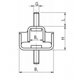 Double U Shear Mount Drawing 1