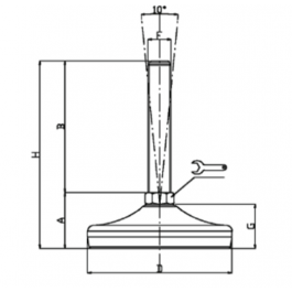 Rubber Levelling Feet Technical Drawing