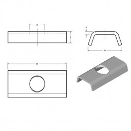 Wall Guard Extrusion Washer 50L x 23W (For 6010923) Technical Drawing