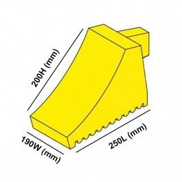 Yellow Wheel Chock 250L x 190W x 200H  Technical Drawing