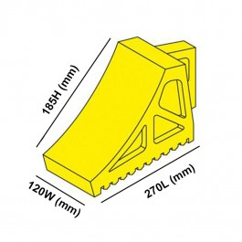 Yellow Wheel Chock 270L x 120W x 185H  Technical Drawing