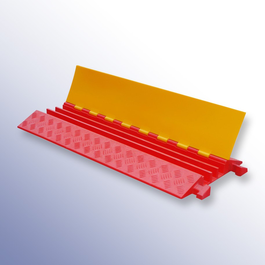 Polyurethane Extra Strength Cable Protector 900L x 500W x 75H (3 Channels, 65mm x 65mm, 40 Tonnes)