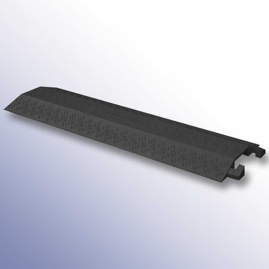 Shallow Cable Cover Black LPDE 1000L x 135W x 20H (1 Channel, 40mm x 12mm)