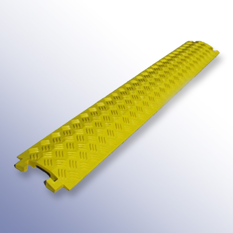 Shallow Cable Cover Yellow PU 1000L x 135W x 20H (1 Channel, 40mm x 12mm)