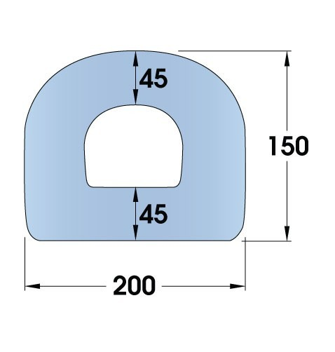 Standard Rubber D-Fender 2000L x 200W x 150H